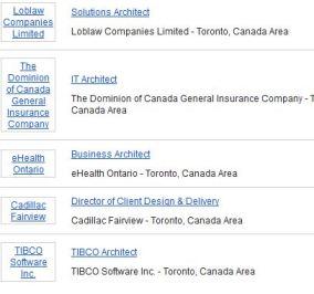 'architect' jobs according to LinkedIn